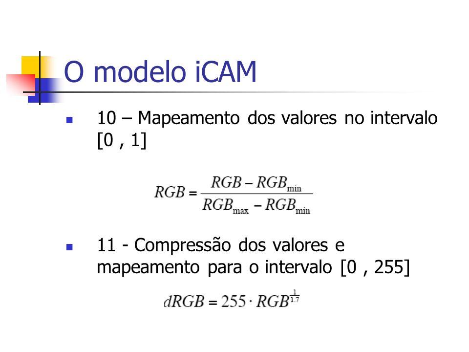 10 – Mapeamento dos valores no intervalo [0, 1] 11 - Compressão dos valores e mapeamento para o intervalo [0, 255]