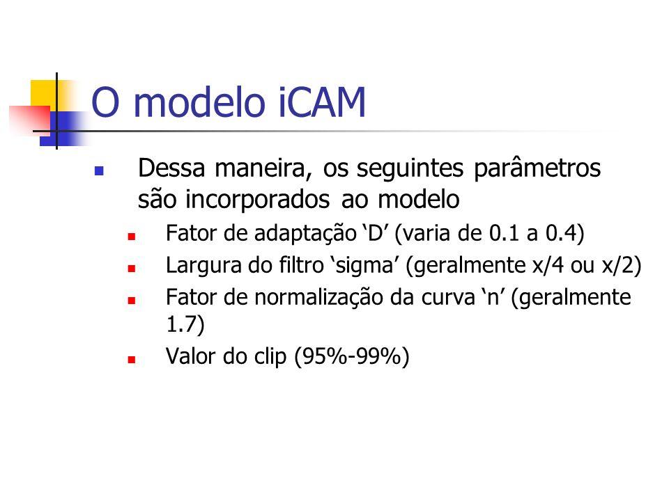 O modelo iCAM Dessa maneira, os seguintes parâmetros são incorporados ao modelo Fator de adaptação D (varia de 0.1 a 0.4) Largura do filtro sigma (ger