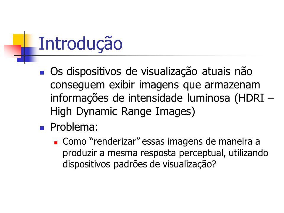 Introdução Os dispositivos de visualização atuais não conseguem exibir imagens que armazenam informações de intensidade luminosa (HDRI – High Dynamic