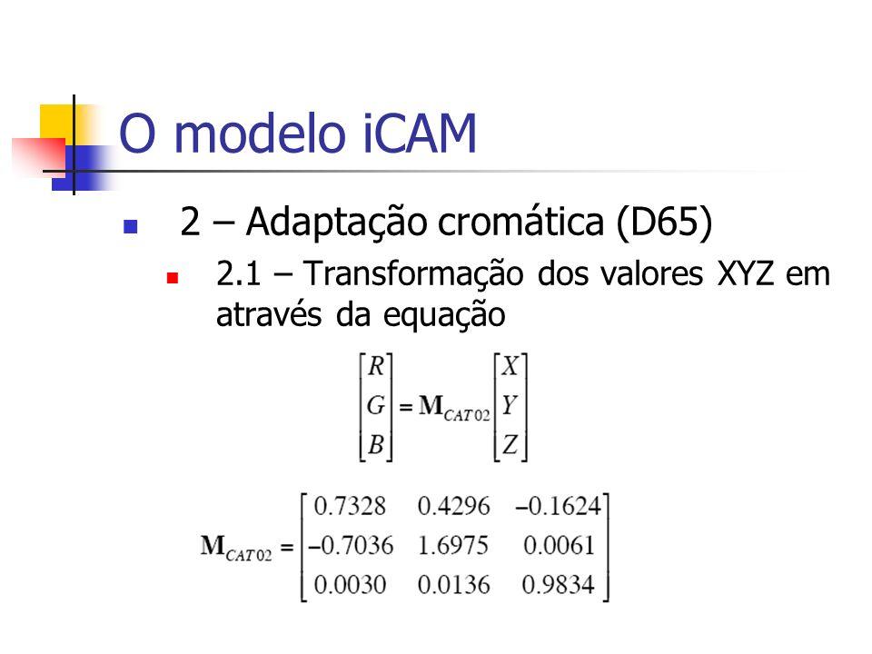 O modelo iCAM 2 – Adaptação cromática (D65) 2.1 – Transformação dos valores XYZ em através da equação