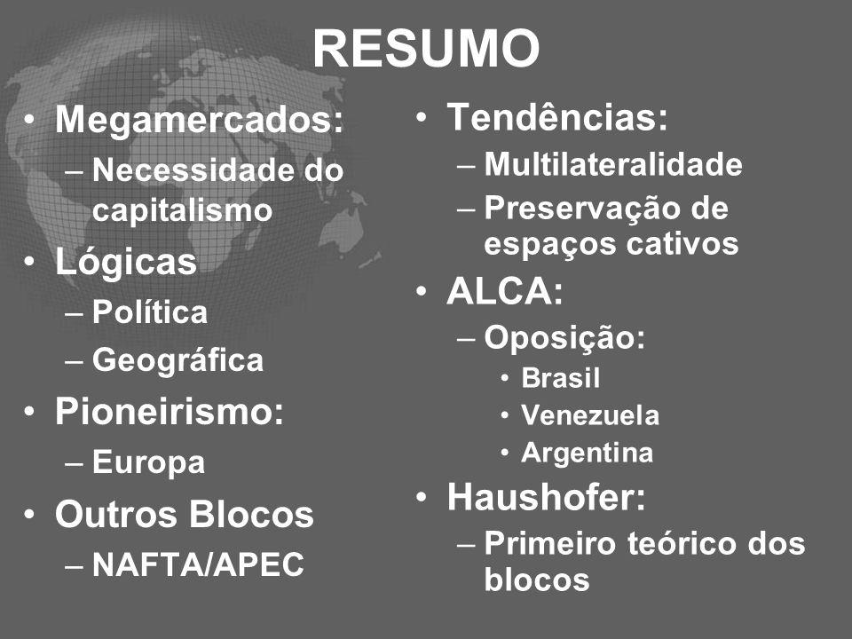 RESUMO Megamercados: –Necessidade do capitalismo Lógicas –Política –Geográfica Pioneirismo: –Europa Outros Blocos –NAFTA/APEC Tendências: –Multilatera