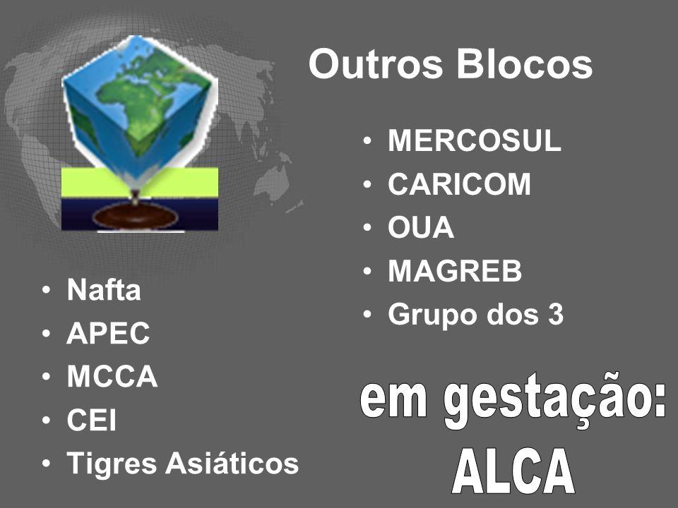 Outros Blocos Nafta APEC MCCA CEI Tigres Asiáticos MERCOSUL CARICOM OUA MAGREB Grupo dos 3