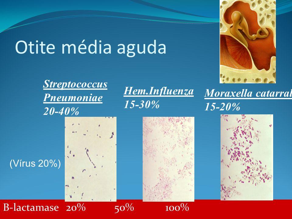 Otite média aguda B-lactamase 20% 50% 100% Streptococcus Pneumoniae 20-40% Hem.Influenza 15-30% Moraxella catarralis 15-20% (Vírus 20%)