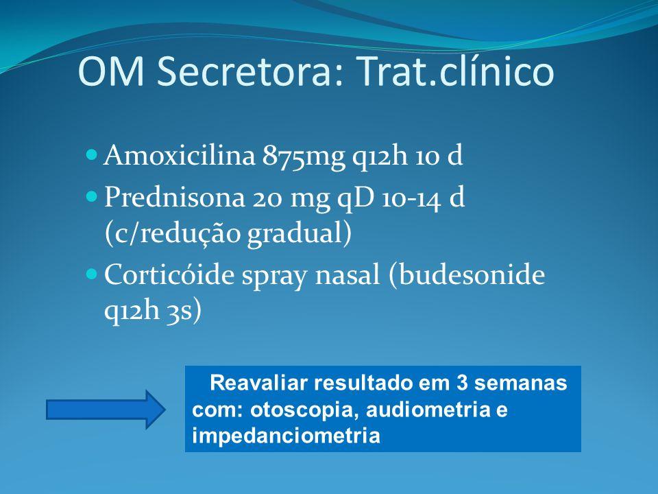 OM Secretora: Trat.clínico Amoxicilina 875mg q12h 10 d Prednisona 20 mg qD 10-14 d (c/redução gradual) Corticóide spray nasal (budesonide q12h 3s) Reavaliar resultado em 3 semanas com: otoscopia, audiometria e impedanciometria