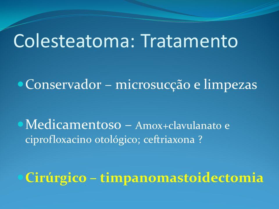 Colesteatoma: Tratamento Conservador – microsucção e limpezas Medicamentoso – Amox+clavulanato e ciprofloxacino otológico; ceftriaxona .