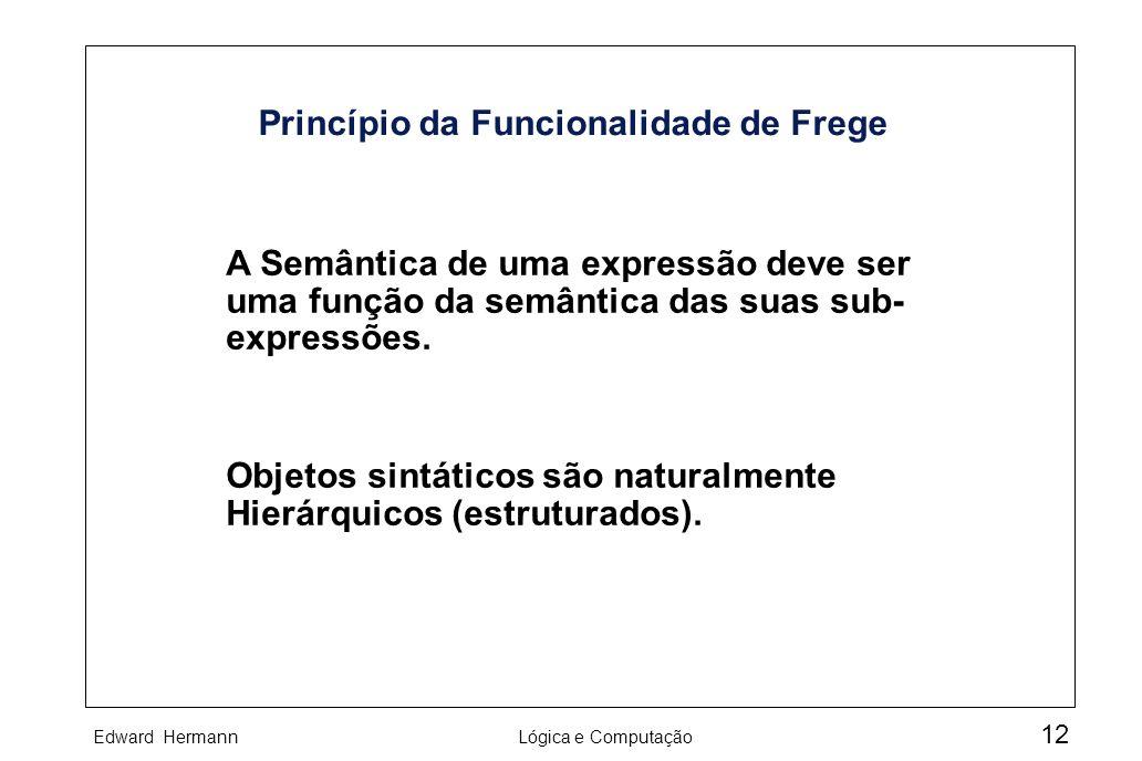 Edward HermannLógica e Computação 12 Princípio da Funcionalidade de Frege A Semântica de uma expressão deve ser uma função da semântica das suas sub-