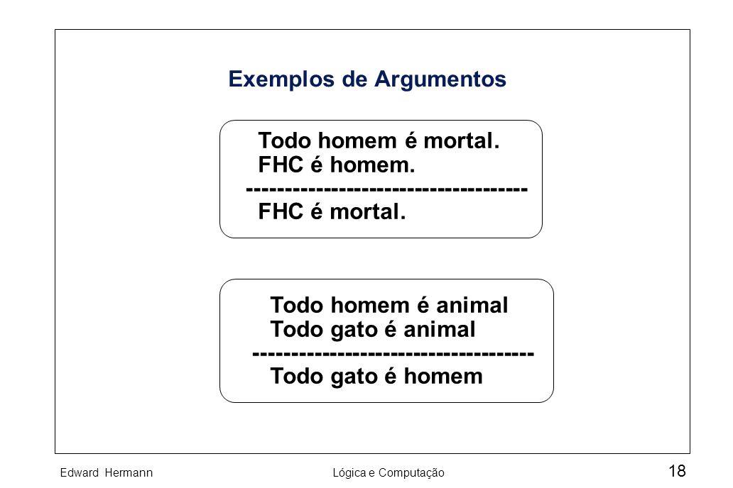 Edward HermannLógica e Computação 18 Exemplos de Argumentos Todo homem é mortal. FHC é homem. ------------------------------------- FHC é mortal. Todo