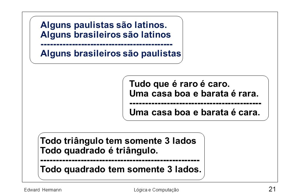 Edward HermannLógica e Computação 21 Alguns paulistas são latinos. Alguns brasileiros são latinos ------------------------------------------- Alguns b
