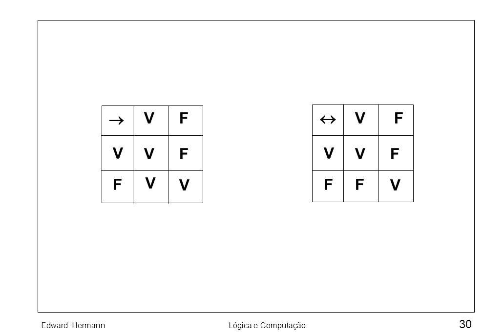 Edward HermannLógica e Computação 30 VF V F VF V V VF V F VF V F