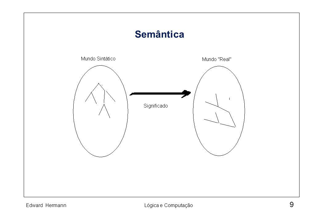 Edward HermannLógica e Computação 10 Linguagem e Metalinguagem À linguagem descritora chamamos de metalinguagem enquanto à descrita chamamos de linguagem objeto.