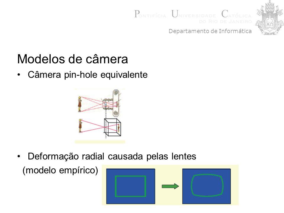 Modelos de câmera Câmera pin-hole equivalente Deformação radial causada pelas lentes (modelo empírico) Departamento de Informática