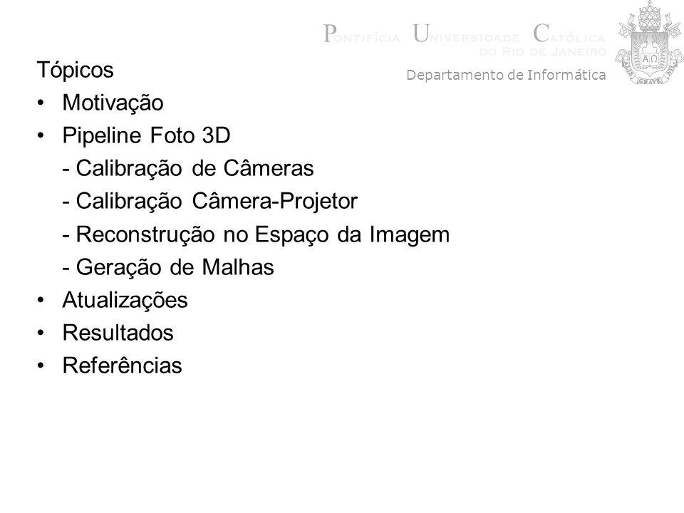 Tópicos Motivação Pipeline Foto 3D - Calibração de Câmeras - Calibração Câmera-Projetor - Reconstrução no Espaço da Imagem - Geração de Malhas Atualiz