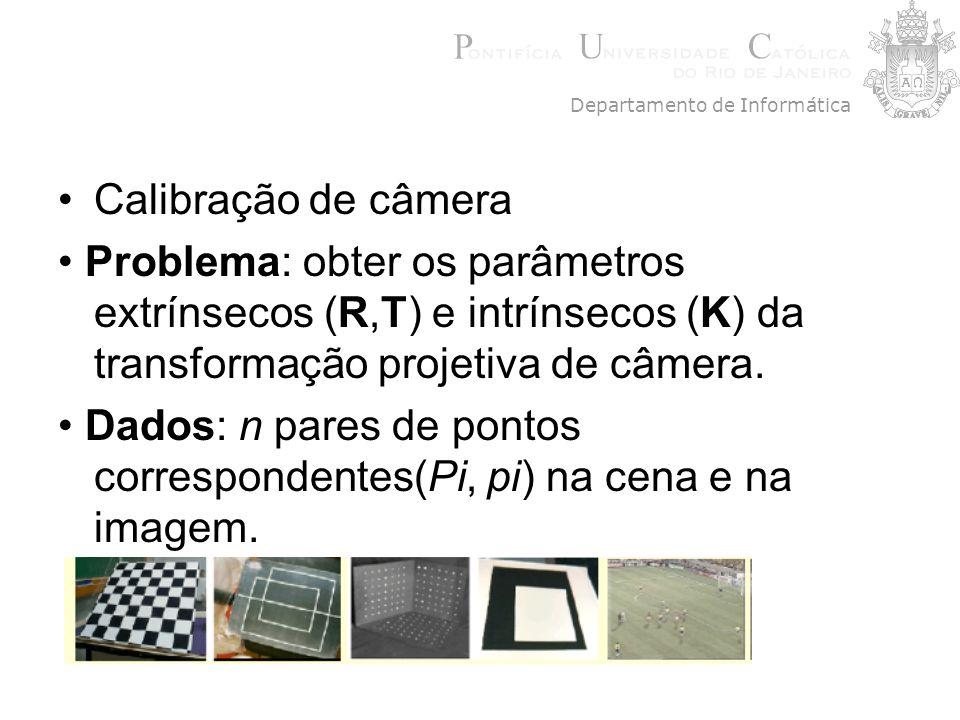 Calibração de câmera Problema: obter os parâmetros extrínsecos (R,T) e intrínsecos (K) da transformação projetiva de câmera. Dados: n pares de pontos