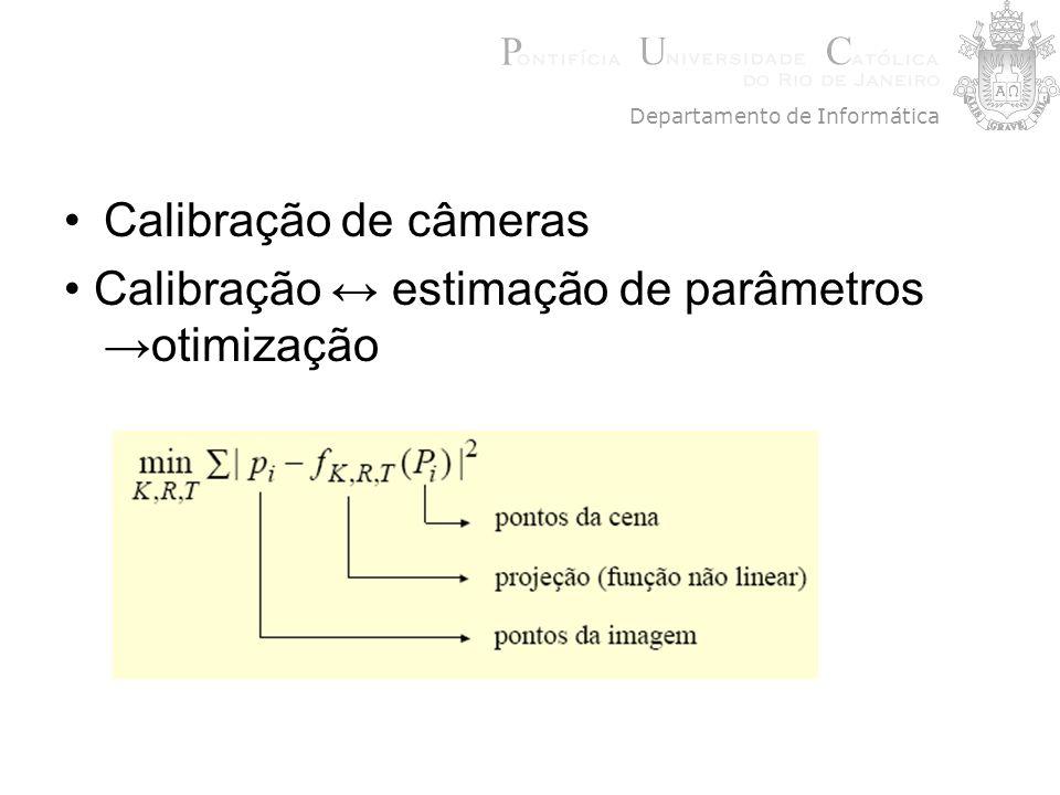 Calibração de câmeras Calibração estimação de parâmetros otimização Departamento de Informática