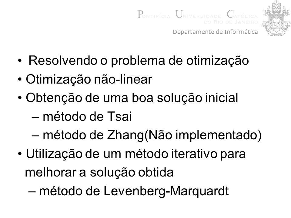Resolvendo o problema de otimização Otimização não-linear Obtenção de uma boa solução inicial – método de Tsai – método de Zhang(Não implementado) Uti