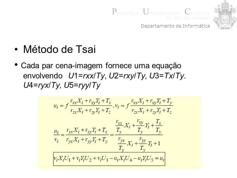 Cada par cena-imagem fornece uma equação envolvendo U1=rxx/Ty, U2=rxy/Ty, U3=Tx/Ty. U4=ryx/Ty, U5=ryy/Ty Departamento de Informática