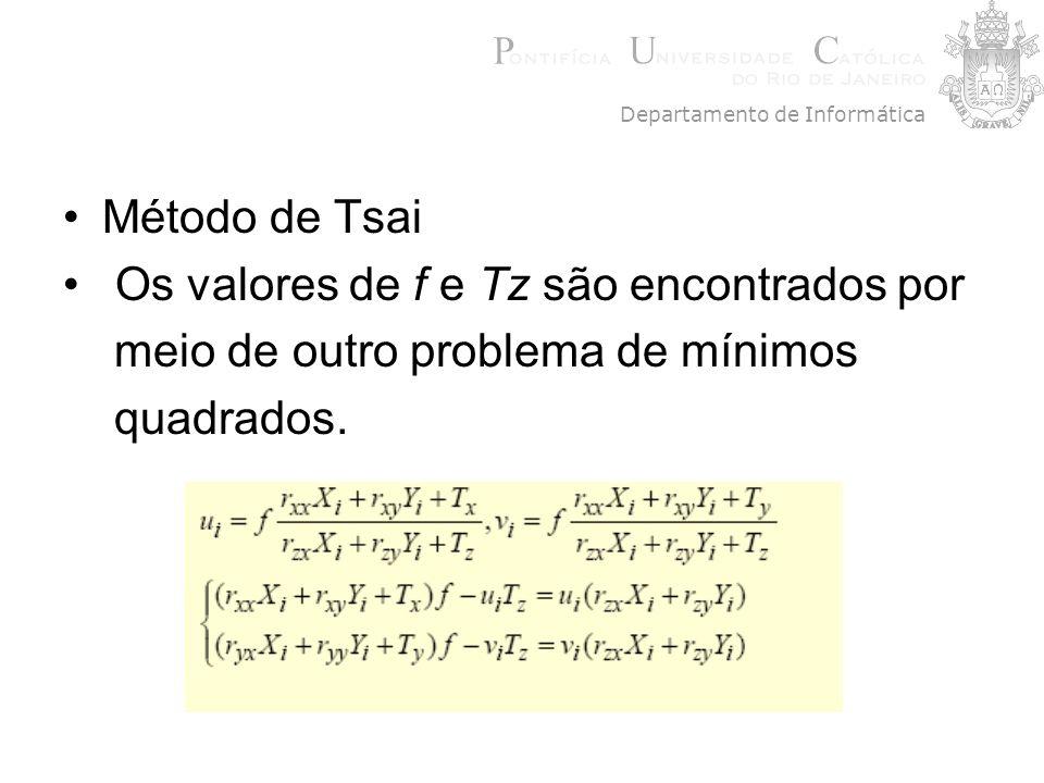 Método de Tsai Os valores de f e Tz são encontrados por meio de outro problema de mínimos quadrados. Departamento de Informática