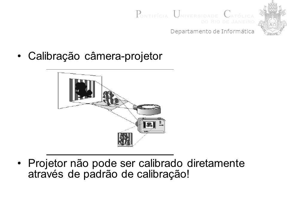 Calibração câmera-projetor Projetor não pode ser calibrado diretamente através de padrão de calibração! Departamento de Informática