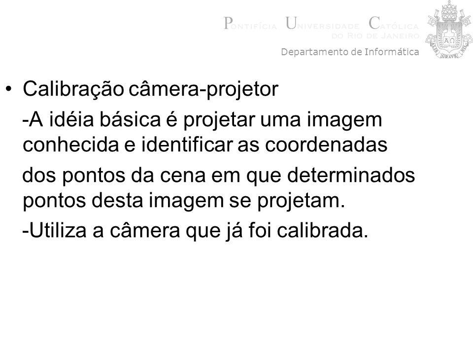 Calibração câmera-projetor -A idéia básica é projetar uma imagem conhecida e identificar as coordenadas dos pontos da cena em que determinados pontos