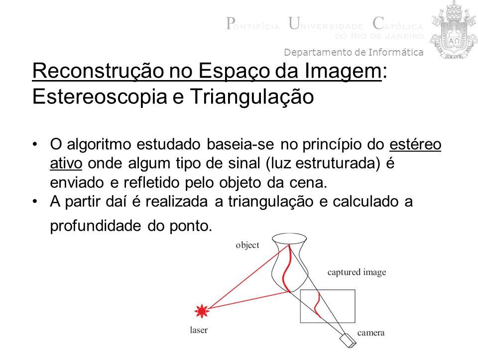 Reconstrução no Espaço da Imagem: Estereoscopia e Triangulação O algoritmo estudado baseia-se no princípio do estéreo ativo onde algum tipo de sinal (
