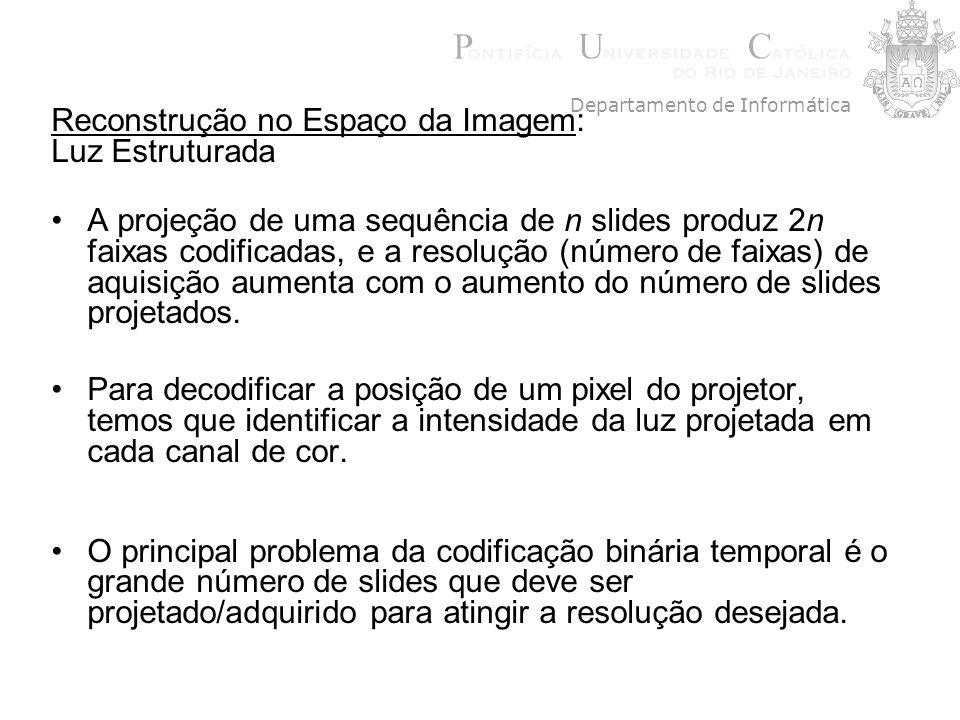 Reconstrução no Espaço da Imagem: Luz Estruturada A projeção de uma sequência de n slides produz 2n faixas codificadas, e a resolução (número de faixa