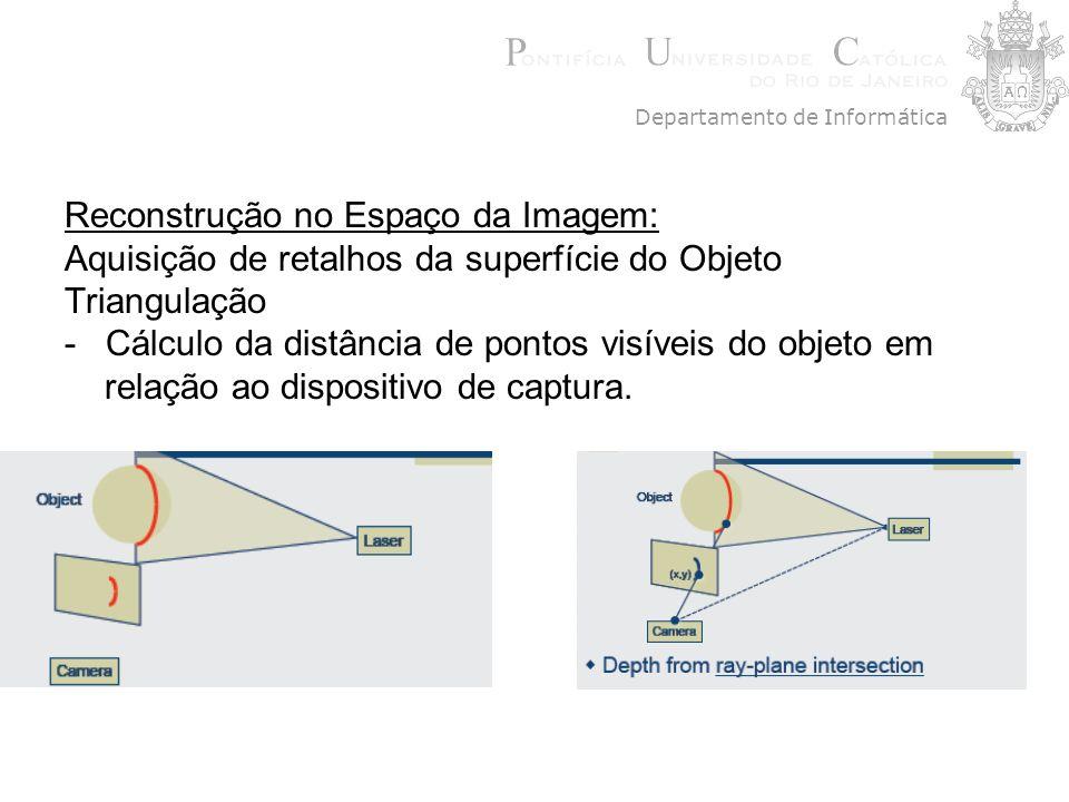 Reconstrução no Espaço da Imagem: Aquisição de retalhos da superfície do Objeto Triangulação - Cálculo da distância de pontos visíveis do objeto em re
