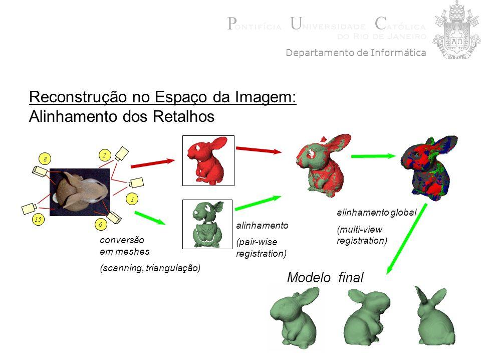 Reconstrução no Espaço da Imagem: Alinhamento dos Retalhos Departamento de Informática 1 15 8 6 2 conversão em meshes (scanning, triangulação) alinham