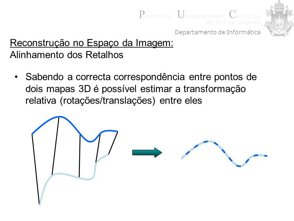 Reconstrução no Espaço da Imagem: Alinhamento dos Retalhos Sabendo a correcta correspondência entre pontos de dois mapas 3D é possível estimar a trans