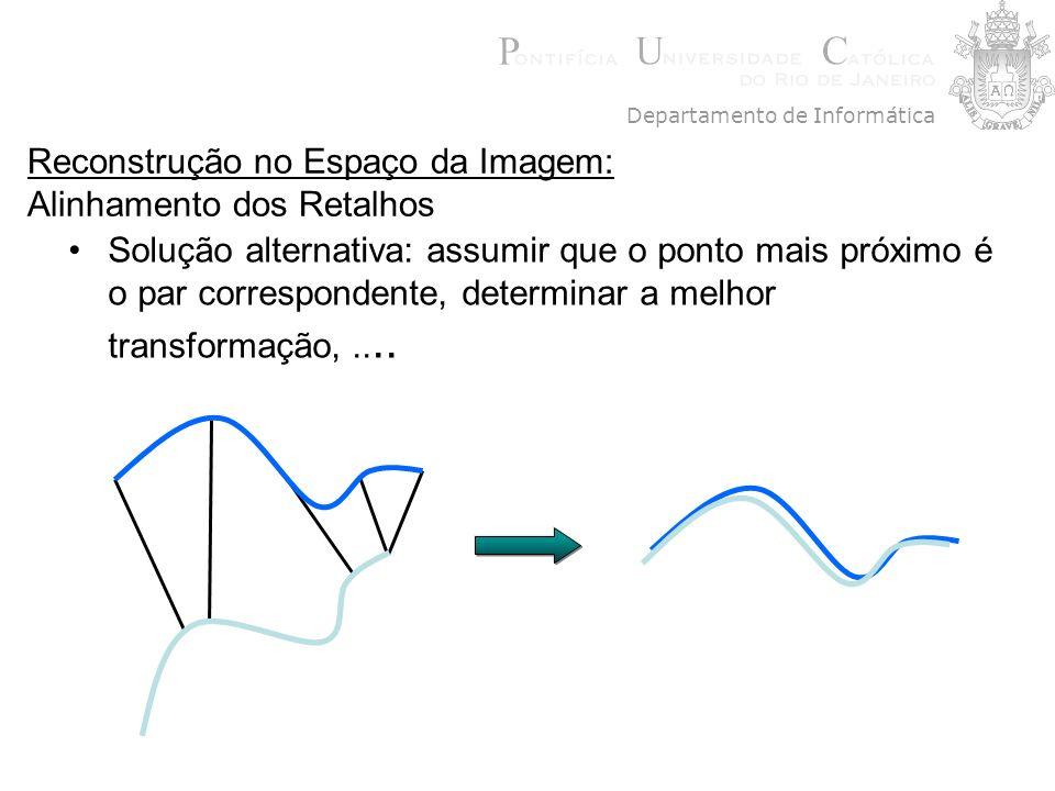 Reconstrução no Espaço da Imagem: Alinhamento dos Retalhos Solução alternativa: assumir que o ponto mais próximo é o par correspondente, determinar a