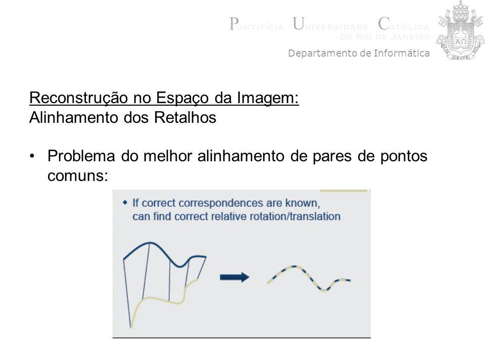 Reconstrução no Espaço da Imagem: Alinhamento dos Retalhos Problema do melhor alinhamento de pares de pontos comuns: Departamento de Informática
