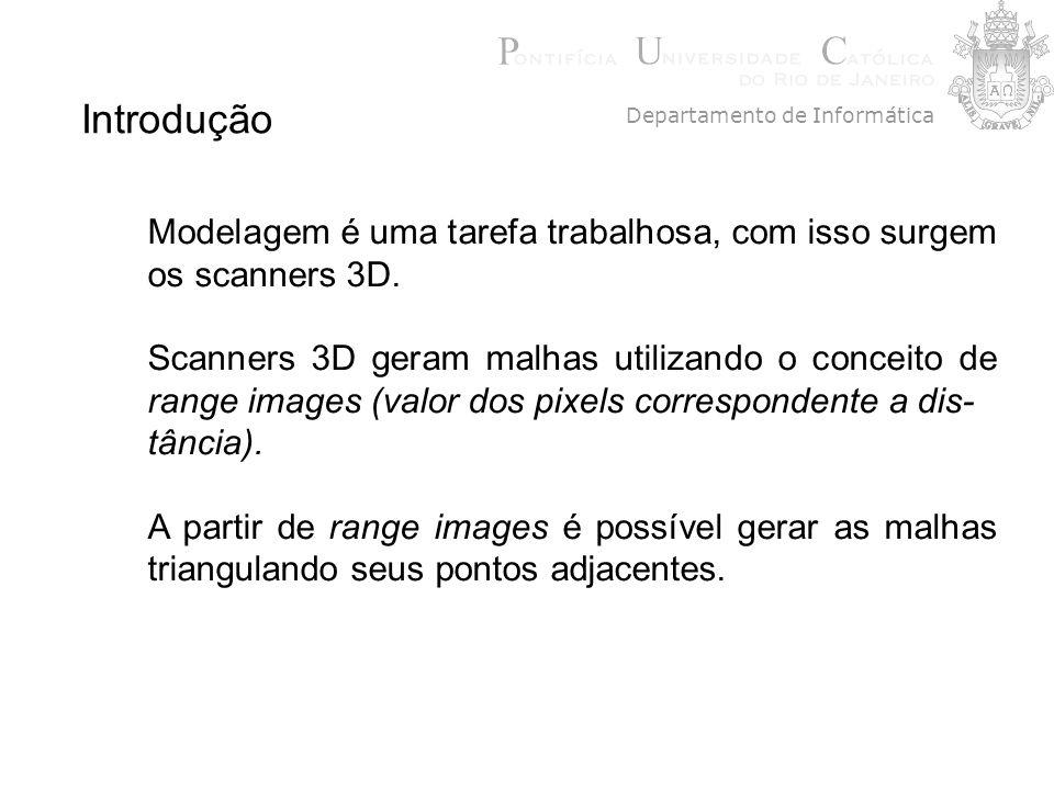 Introdução Modelagem é uma tarefa trabalhosa, com isso surgem os scanners 3D. Scanners 3D geram malhas utilizando o conceito de range images (valor do