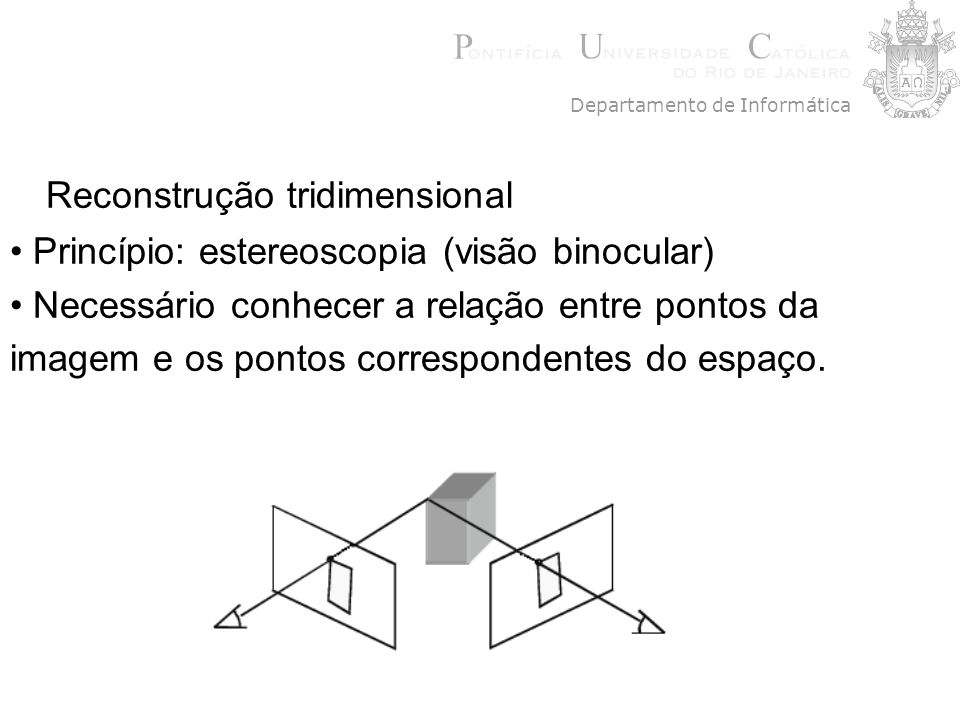 Reconstrução tridimensional Princípio: estereoscopia (visão binocular) Necessário conhecer a relação entre pontos da imagem e os pontos correspondente