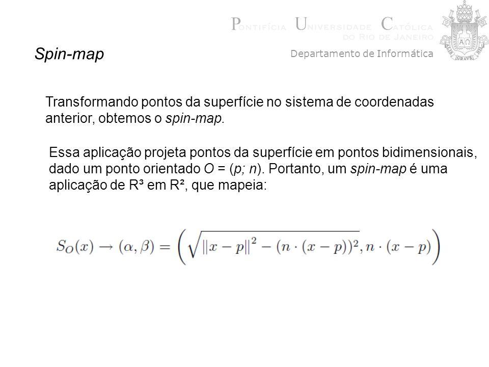 Spin-map Transformando pontos da superfície no sistema de coordenadas anterior, obtemos o spin-map. Essa aplicação projeta pontos da superfície em pon