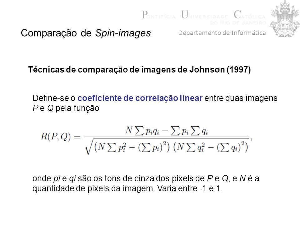 Comparação de Spin-images Técnicas de comparação de imagens de Johnson (1997) Define-se o coeficiente de correlação linear entre duas imagens P e Q pe