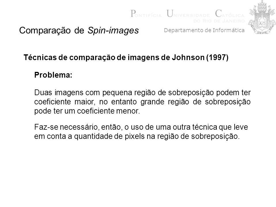 Comparação de Spin-images Técnicas de comparação de imagens de Johnson (1997) Faz-se necessário, então, o uso de uma outra técnica que leve em conta a