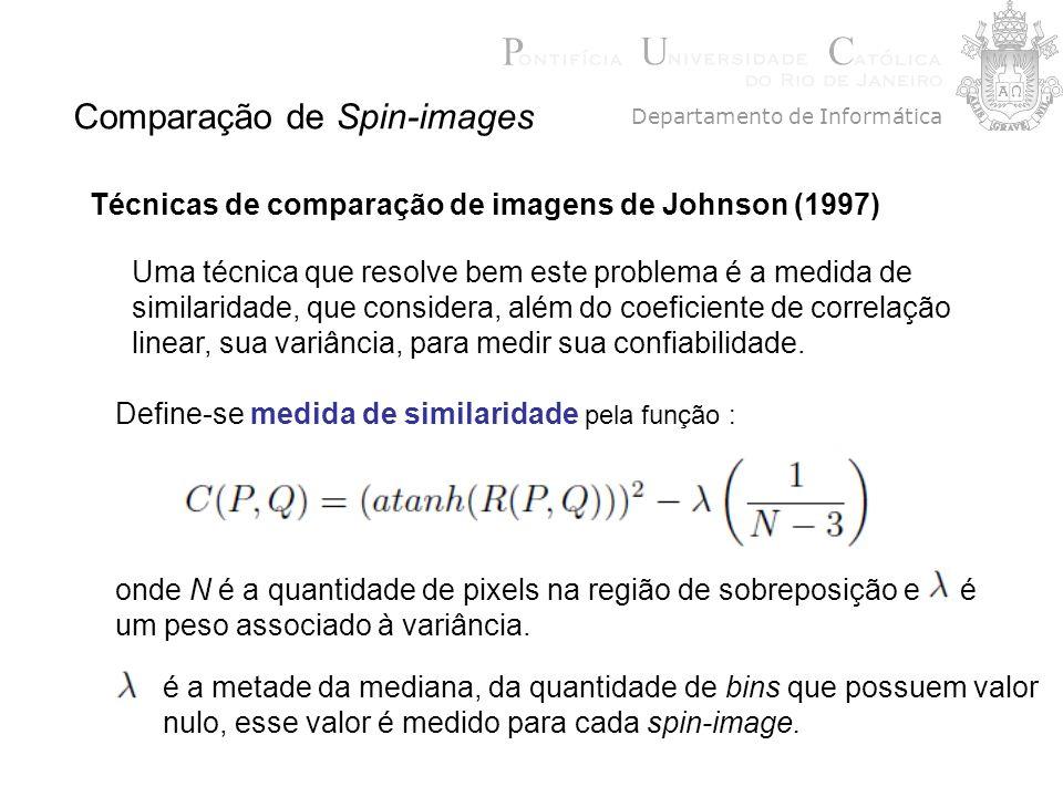 Comparação de Spin-images Técnicas de comparação de imagens de Johnson (1997) Define-se medida de similaridade pela função : Uma técnica que resolve b
