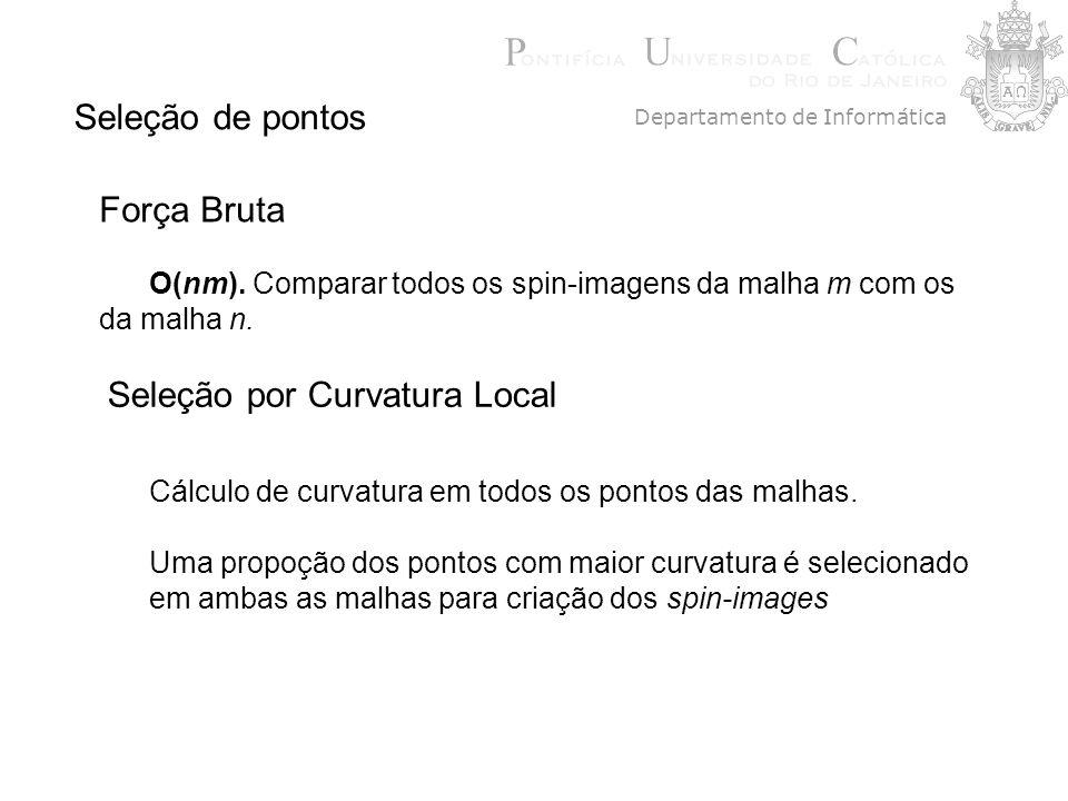 Seleção de pontos Seleção por Curvatura Local Cálculo de curvatura em todos os pontos das malhas. Uma propoção dos pontos com maior curvatura é seleci