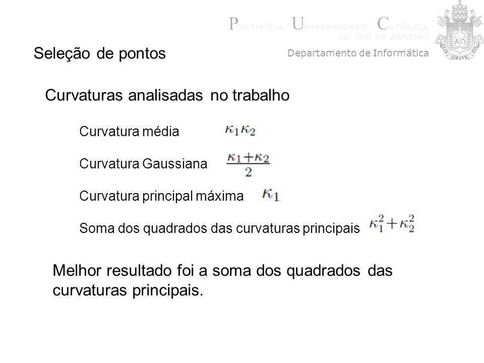 Seleção de pontos Curvaturas analisadas no trabalho Curvatura média Curvatura Gaussiana Curvatura principal máxima Soma dos quadrados das curvaturas p