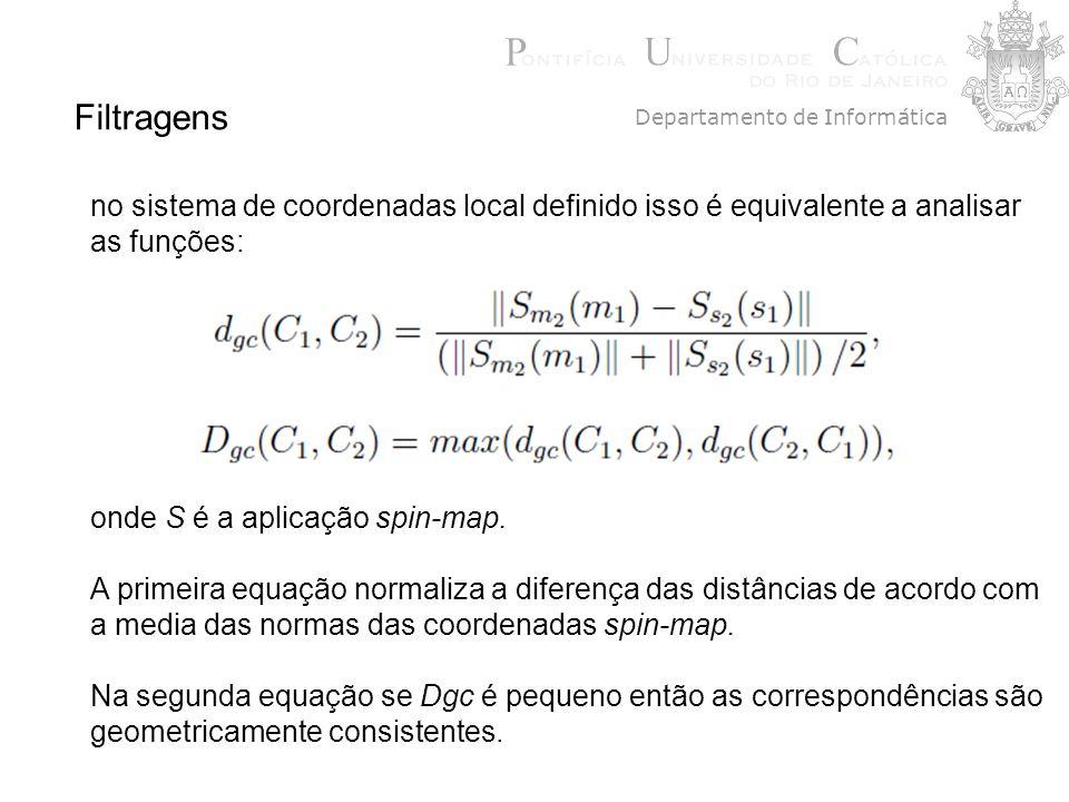 Filtragens no sistema de coordenadas local definido isso é equivalente a analisar as funções: onde S é a aplicação spin-map. A primeira equação normal