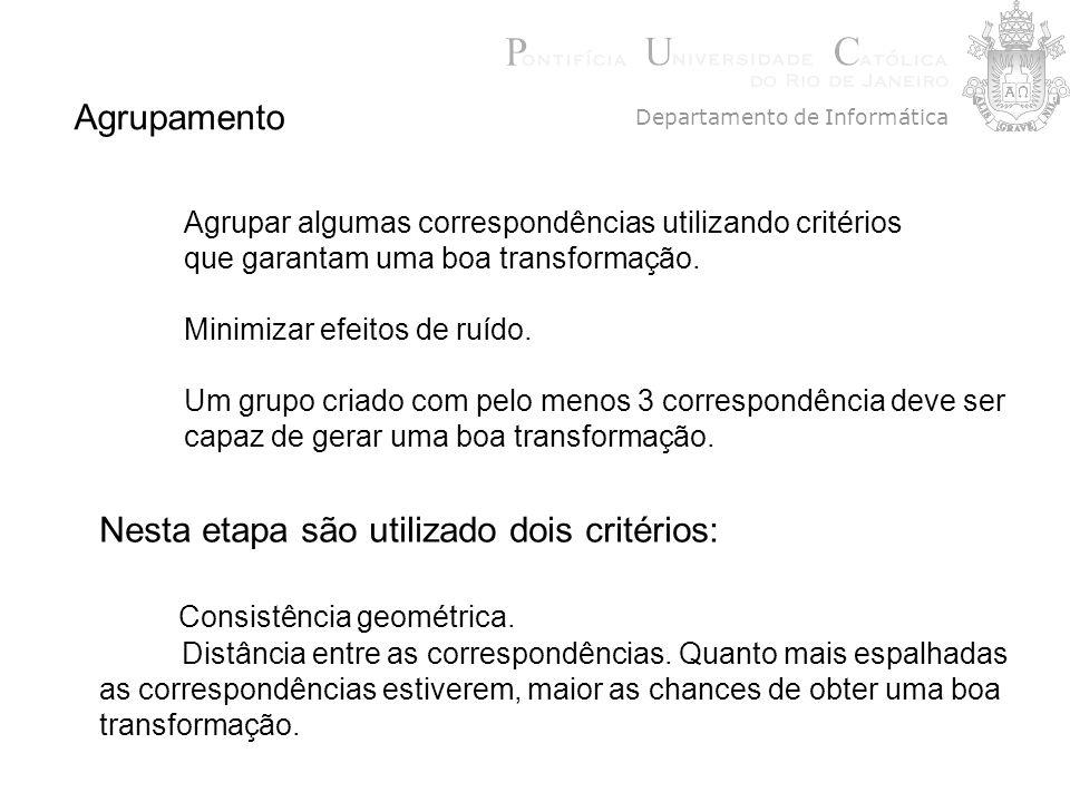 Agrupamento Agrupar algumas correspondências utilizando critérios que garantam uma boa transformação. Minimizar efeitos de ruído. Um grupo criado com