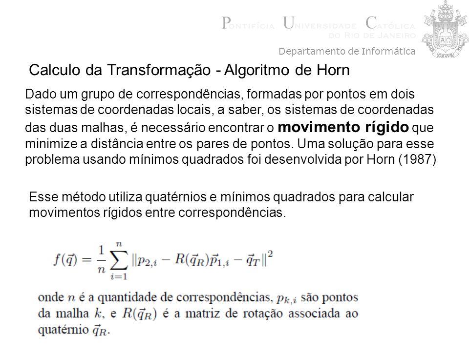 Calculo da Transformação - Algoritmo de Horn Dado um grupo de correspondências, formadas por pontos em dois sistemas de coordenadas locais, a saber, o