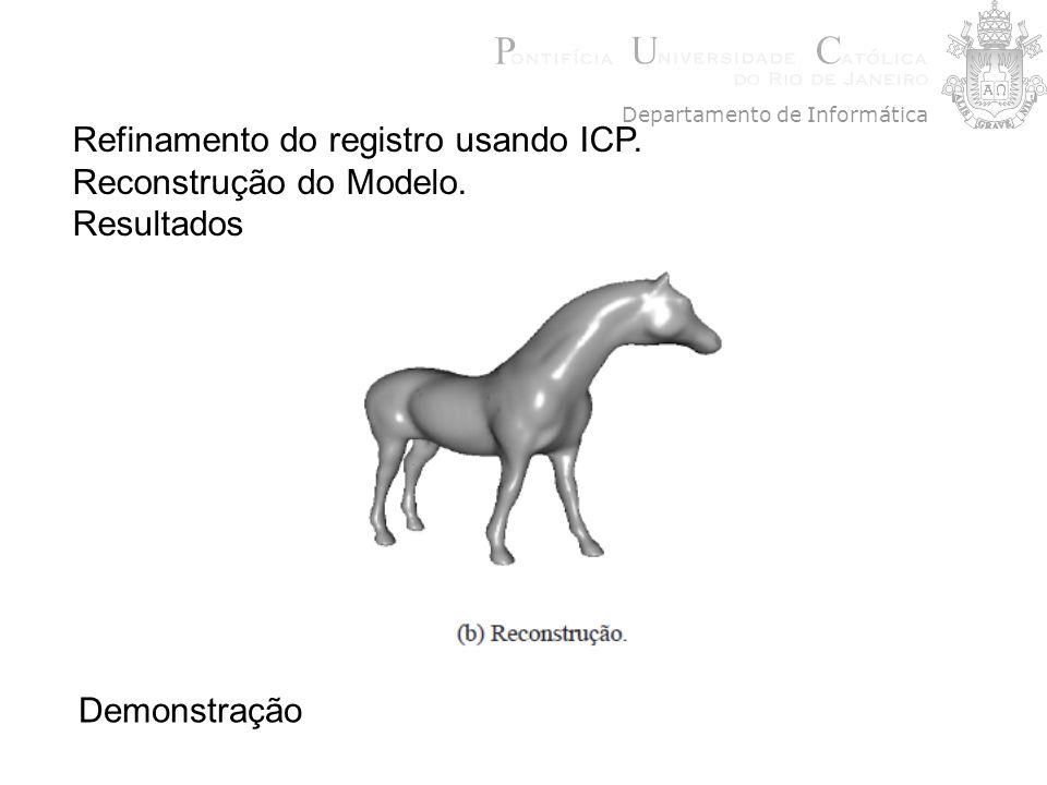 Refinamento do registro usando ICP. Reconstrução do Modelo. Resultados Demonstração Departamento de Informática