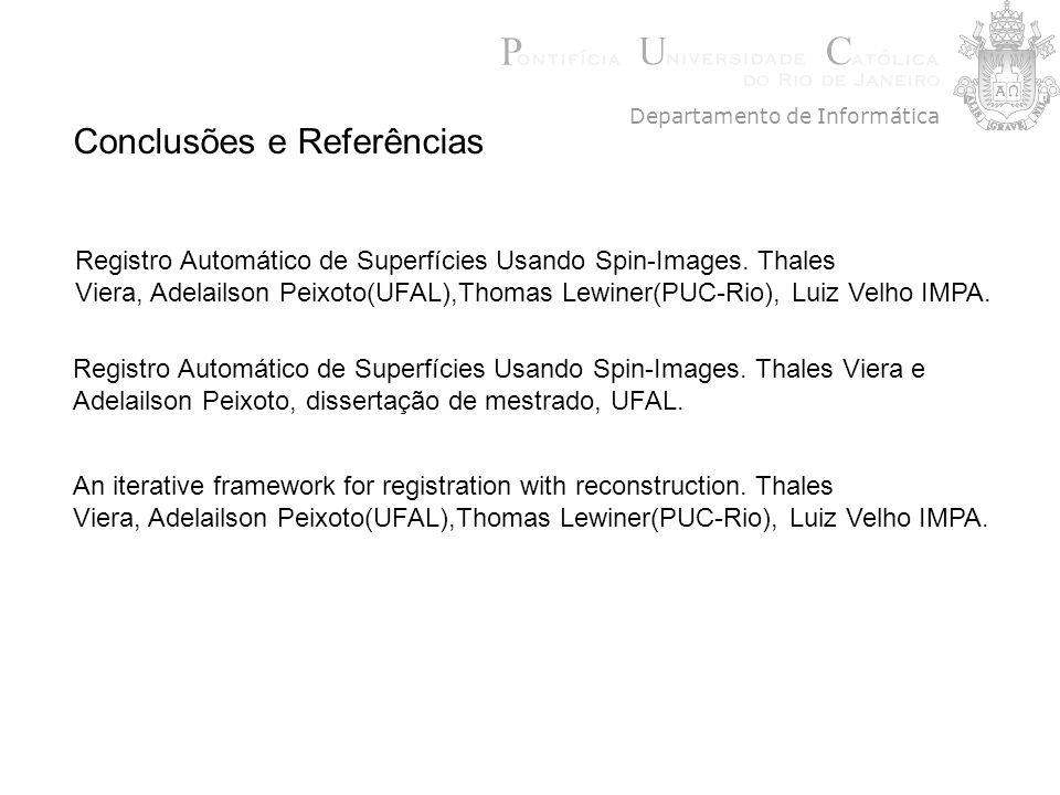 Conclusões e Referências Registro Automático de Superfícies Usando Spin-Images. Thales Viera, Adelailson Peixoto(UFAL),Thomas Lewiner(PUC-Rio), Luiz V