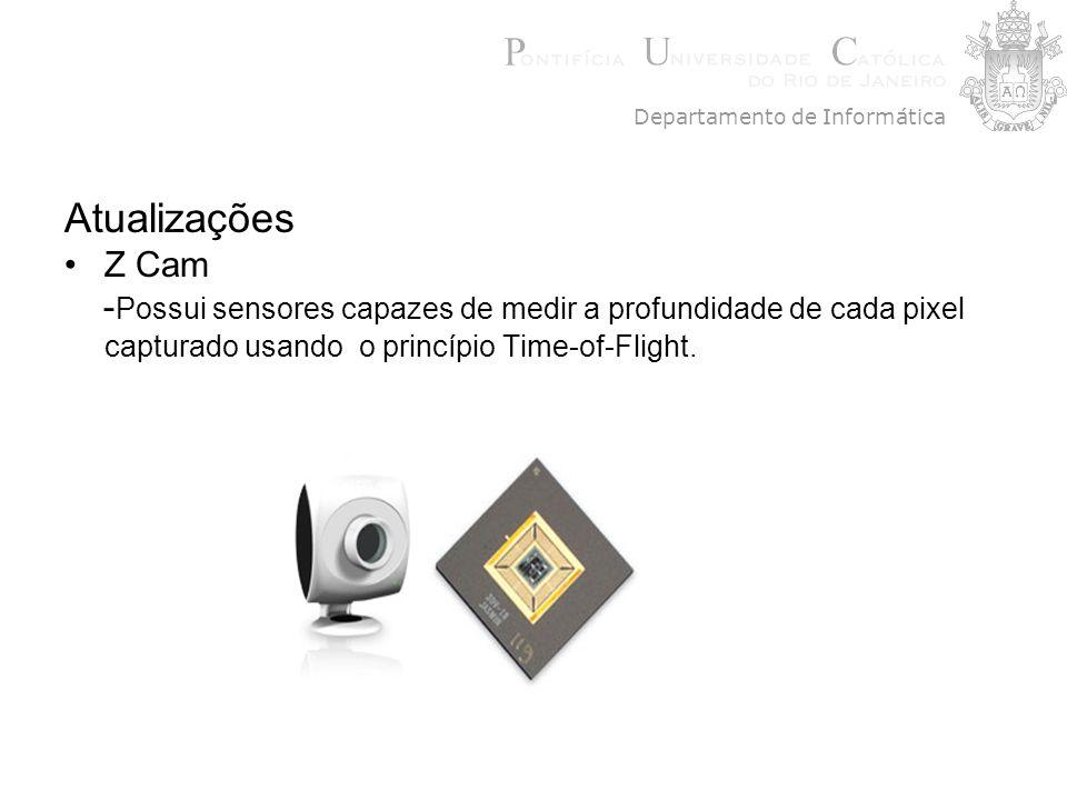 Atualizações Z Cam - Possui sensores capazes de medir a profundidade de cada pixel capturado usando o princípio Time-of-Flight. Departamento de Inform