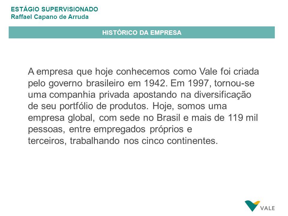 ESTÁGIO SUPERVISIONADO Raffael Capano de Arruda HISTÓRICO DA EMPRESA A empresa que hoje conhecemos como Vale foi criada pelo governo brasileiro em 1942.