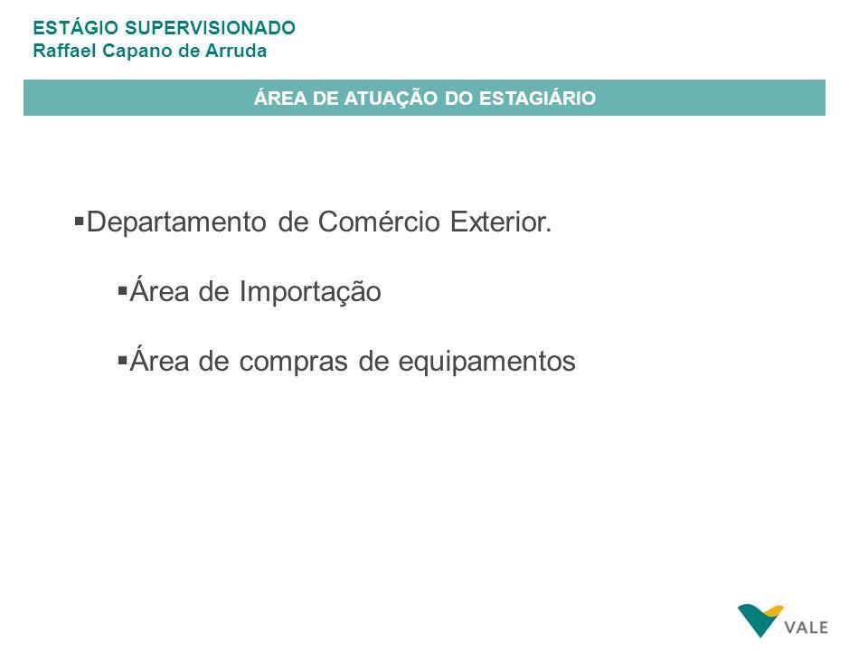 ESTÁGIO SUPERVISIONADO Raffael Capano de Arruda ÁREA DE ATUAÇÃO DO ESTAGIÁRIO Departamento de Comércio Exterior.