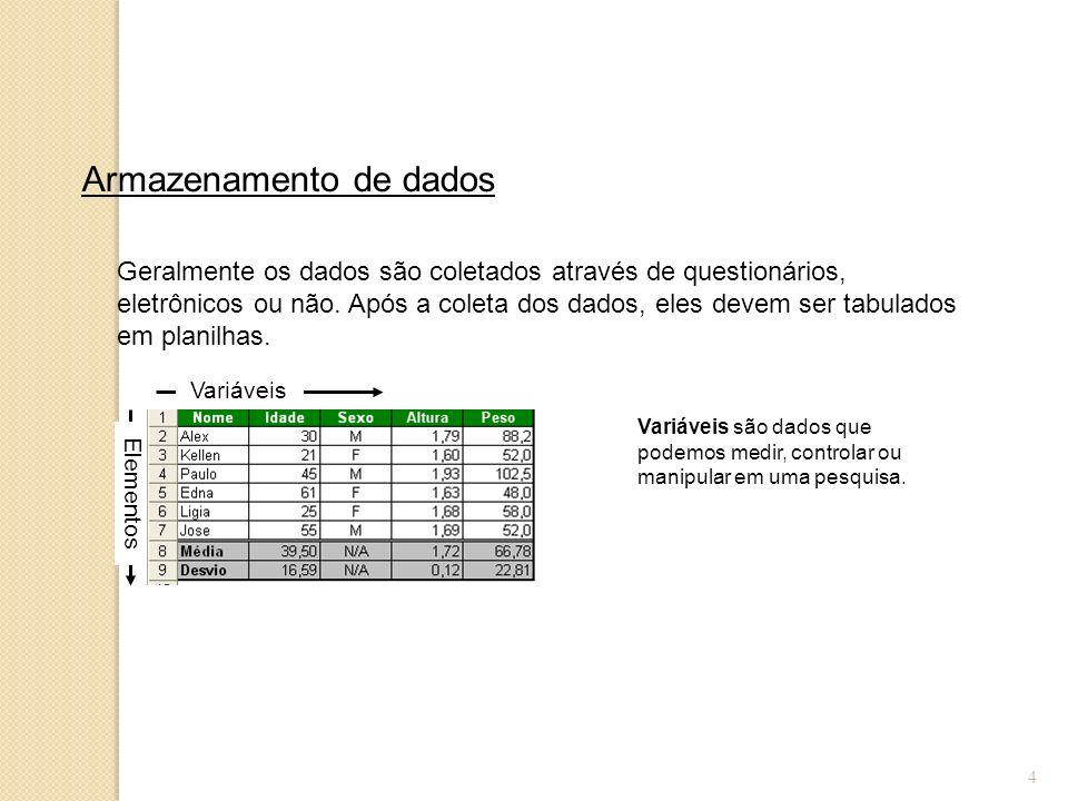 4 Armazenamento de dados Geralmente os dados são coletados através de questionários, eletrônicos ou não. Após a coleta dos dados, eles devem ser tabul