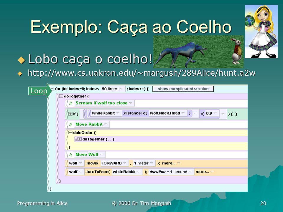 Programming in Alice © 2006 Dr. Tim Margush 20 Exemplo: Caça ao Coelho Lobo caça o coelho! Lobo caça o coelho! http://www.cs.uakron.edu/~margush/289Al