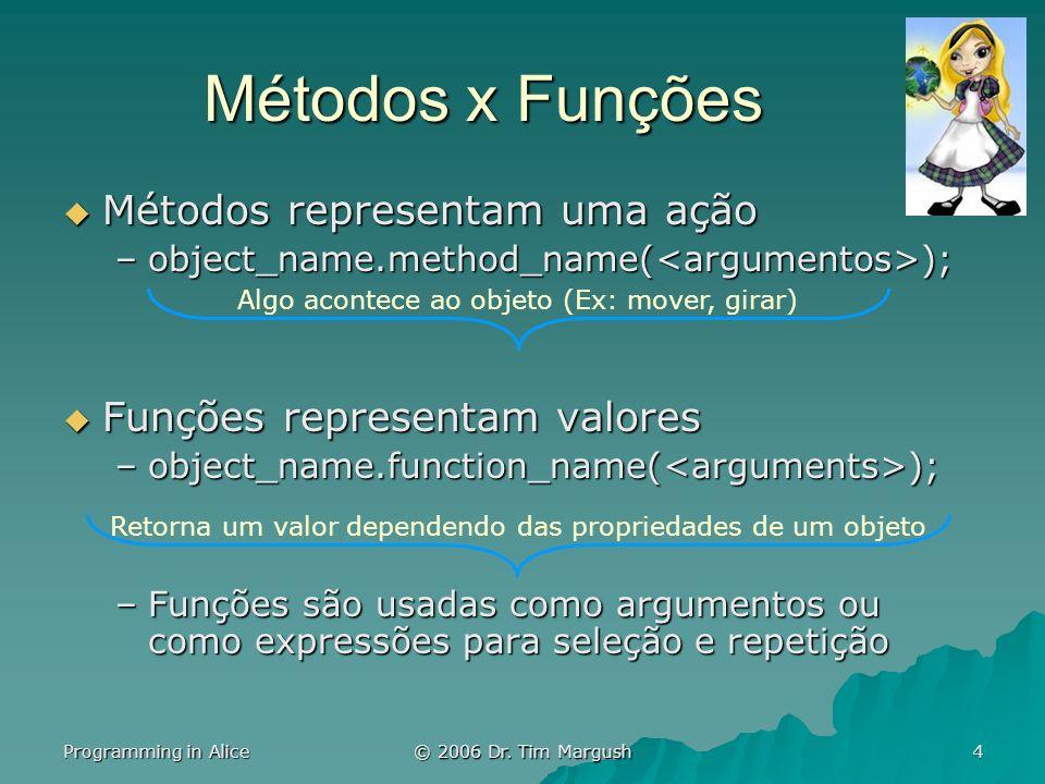Programming in Alice © 2006 Dr. Tim Margush 4 Métodos x Funções Métodos representam uma ação Métodos representam uma ação –object_name.method_name( );