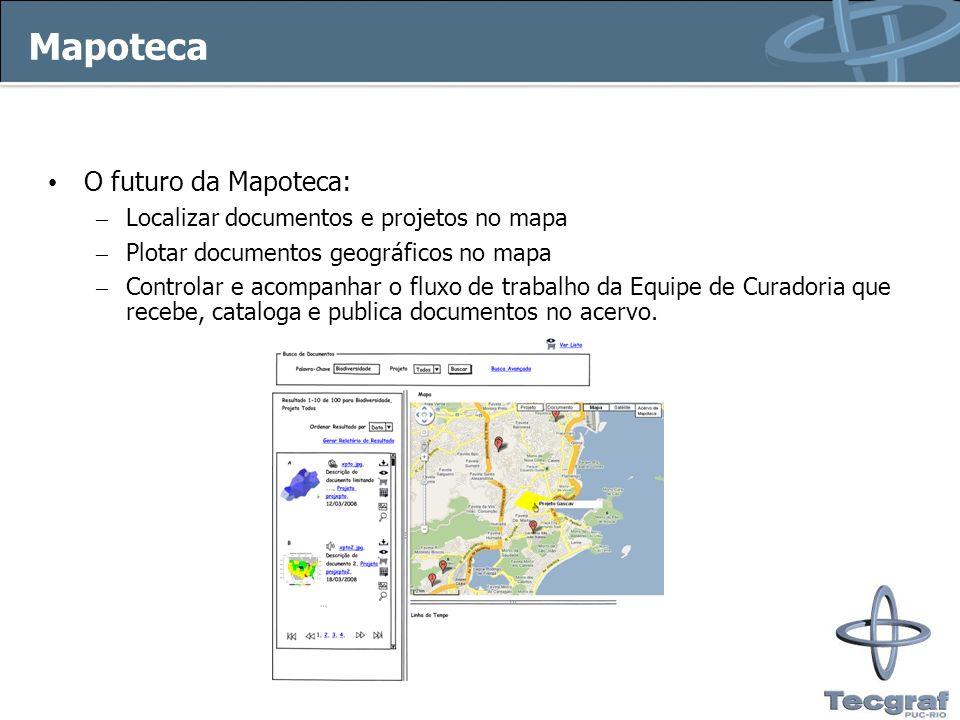 Mapoteca O futuro da Mapoteca: – Localizar documentos e projetos no mapa – Plotar documentos geográficos no mapa – Controlar e acompanhar o fluxo de t
